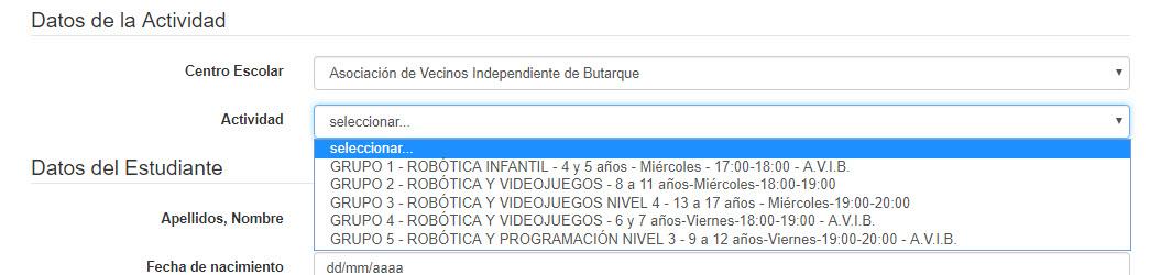"""Seleccione el Centro escolar """"CEIP Fernándea Moratín"""" y el Evento """"INTENSIVO VIDEOJUEGOS SEPTIEMBRE-FERNÁNDEZ MORATÍN - L-M-X-J-V-15:00-16:00"""" para proceder a la inscripción."""
