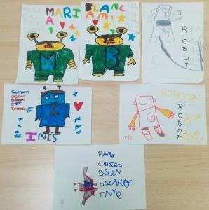 robots con letras