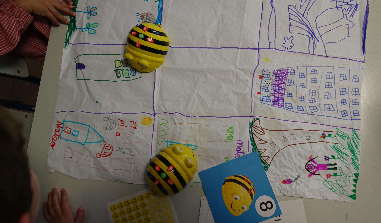 ¡Bee-Bots con nuestra propia alfombra!